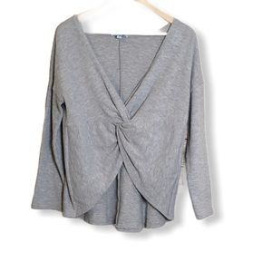 She + Sky Grey Crossover Sweater Size Large